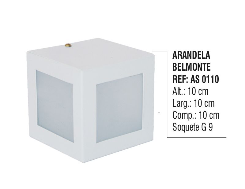 Arandela Externa Interna Belmonte de Parede Alumínio e Vidro  - Panela de Ferro Fundido