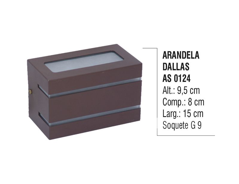 Arandela Externa Interna Dallas de Parede Alumínio e Vidro  - Panela de Ferro Fundido