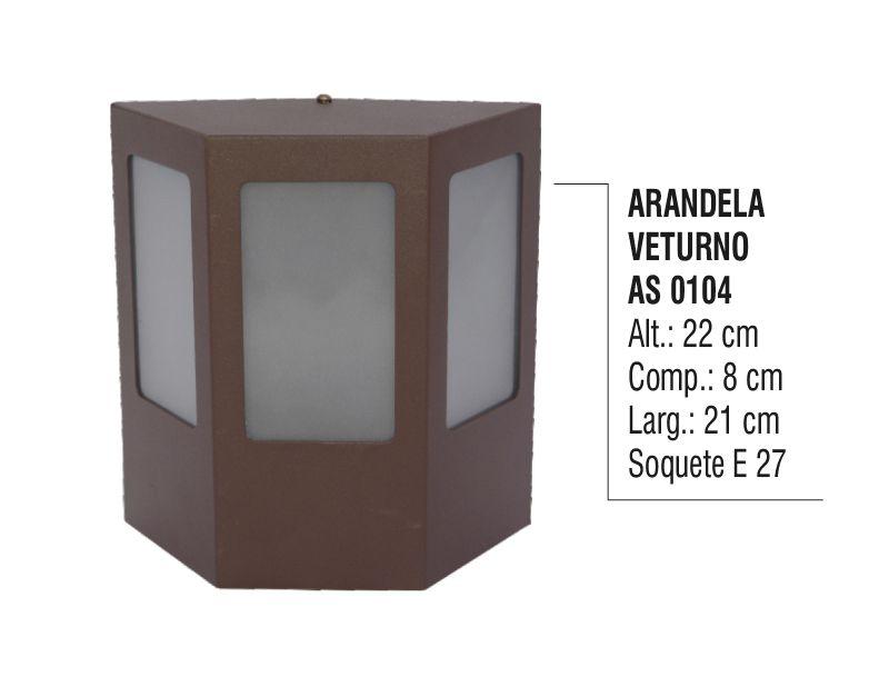 Arandela Externa Interna Veturno de Parede Alumínio e Vidro  - Panela de Ferro Fundido