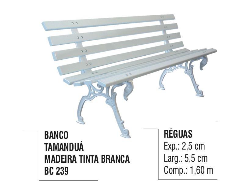 Banco de Jardim e Praça Tamanduá em Madeira Verniz Branco  - Panela de Ferro Fundido