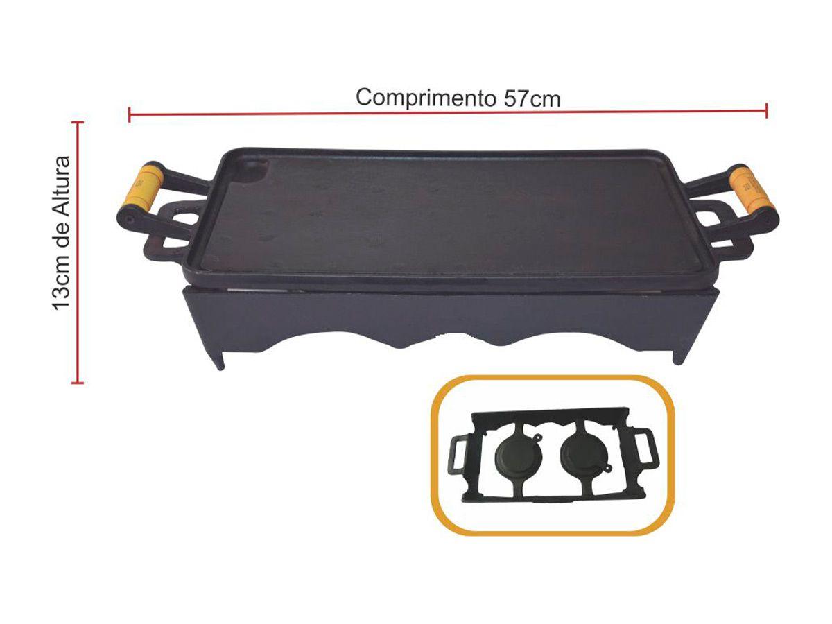 Bifeteira 25x45 Rechaud Com 02 Porta Álcool - Completa  - Panela de Ferro Fundido