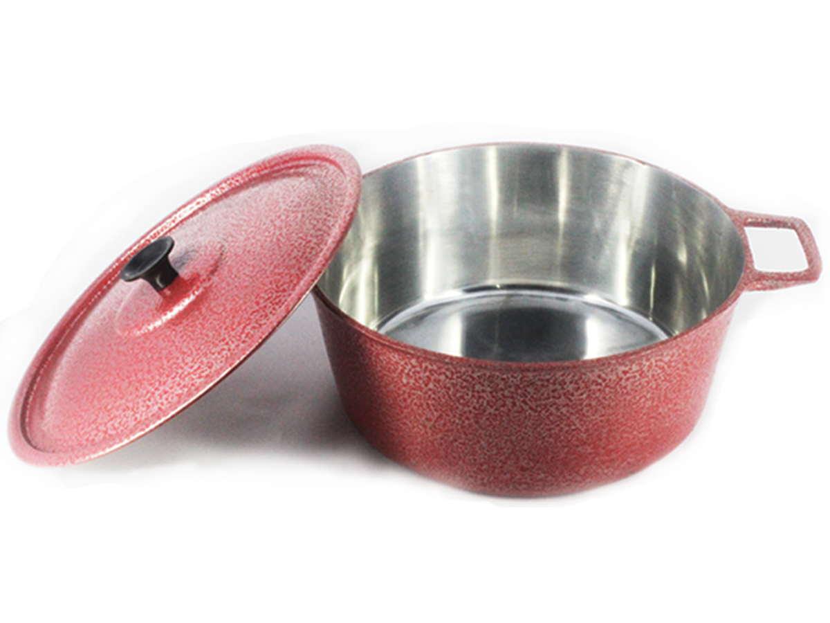 Caçarola Panela Craqueada Alumínio Fundido Vermelha  16cm