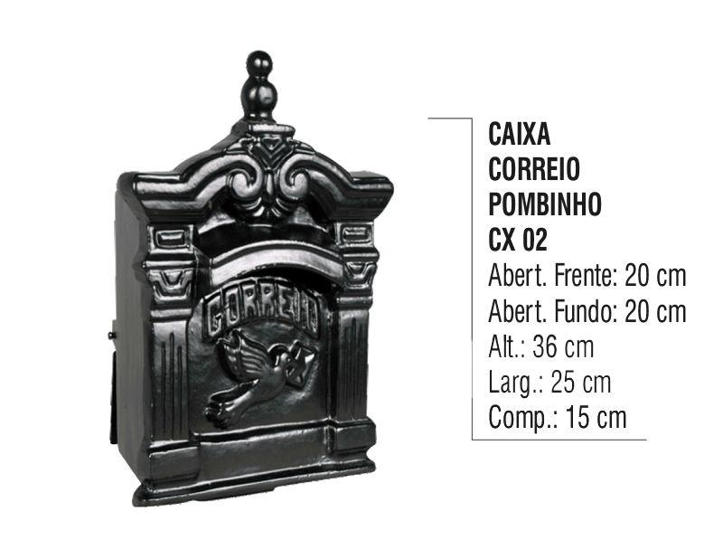 Caixa de Correio Colonial Pombo Pequeno em Alumínio Fundido  - Panela de Ferro Fundido