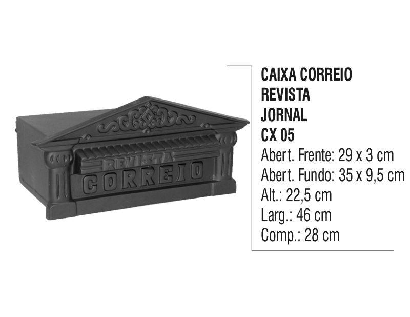 Caixa de Correio Colonial Revista Jornal em Alumínio Fundido  - Panela de Ferro Fundido