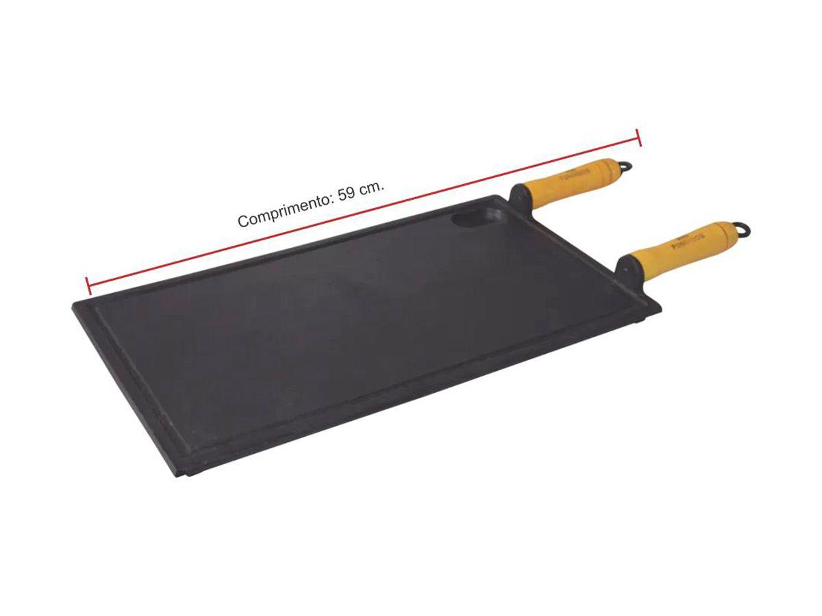 Chapa Churrasqueira de Ferro Fundido - Medidas 25x45cm  - Panela de Ferro Fundido