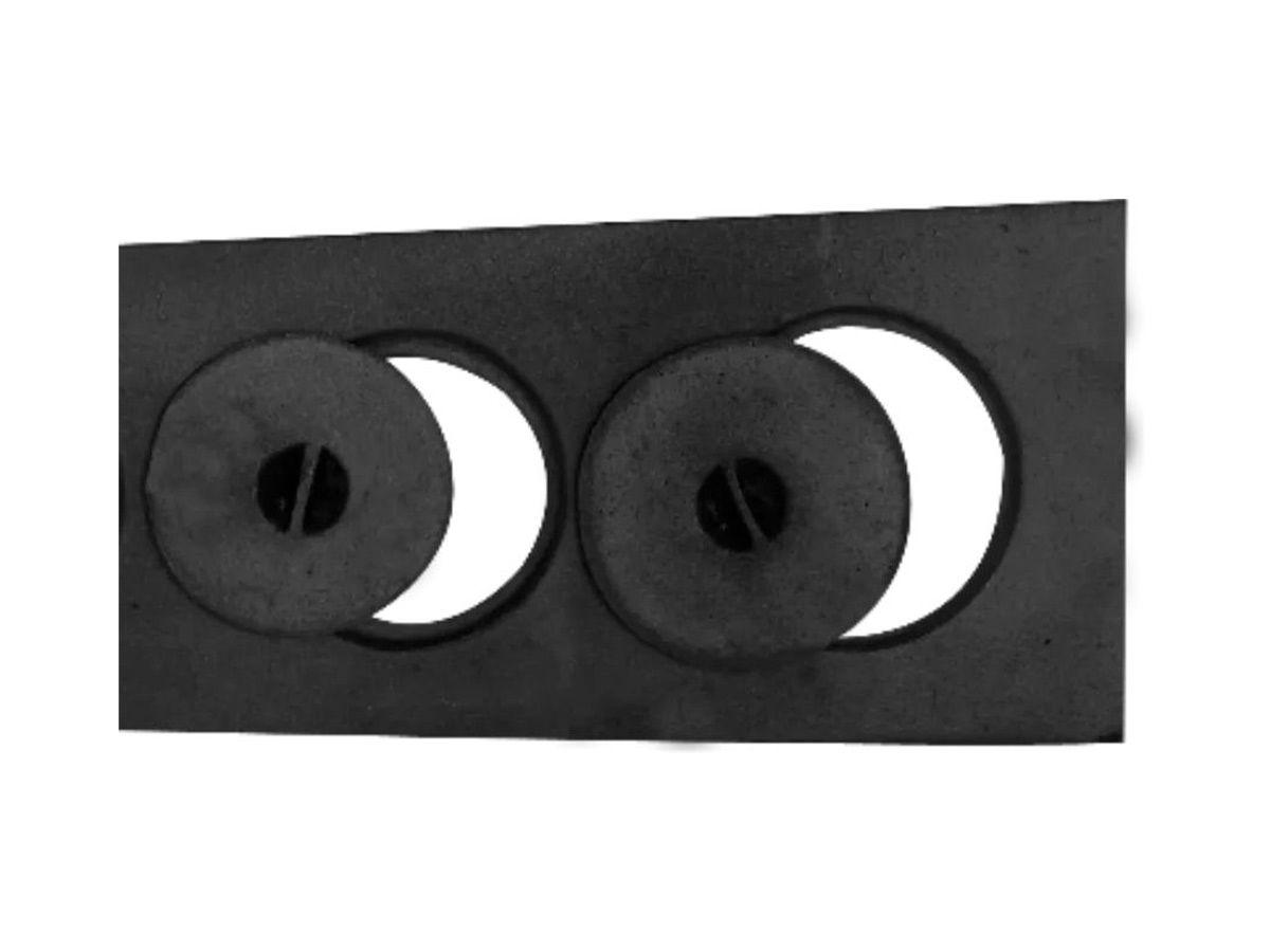 Chapa Paulista Fogão A Lenha 2 Furos Com Tampa 19x39x22cm  - Panela de Ferro Fundido
