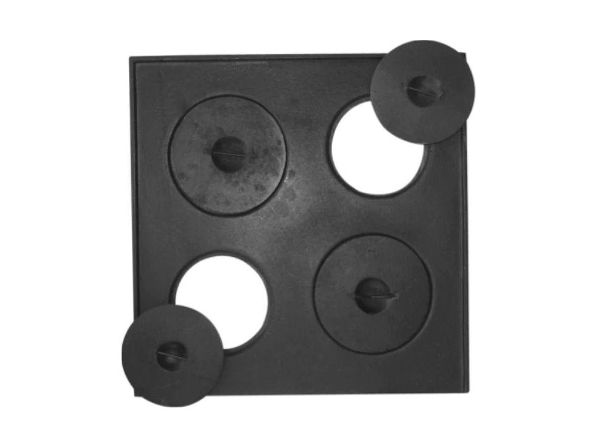 Chapa Quadrada Fogão Lenha 4 Furos Com Tampa 45x45cm  - Panela de Ferro Fundido