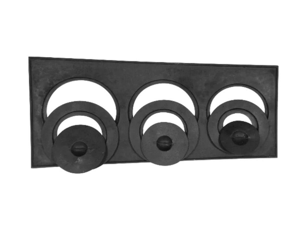 Chapa Redução Fogão Lenha 3 Furos C/ Tampa  29x68x26cm  - Panela de Ferro Fundido