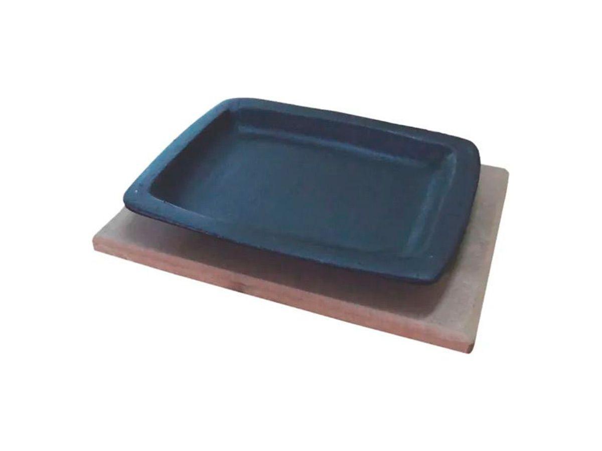 Chapa Tepan 16x20 De Ferro Fundido Com Aparador De Madeira  - Panela de Ferro Fundido