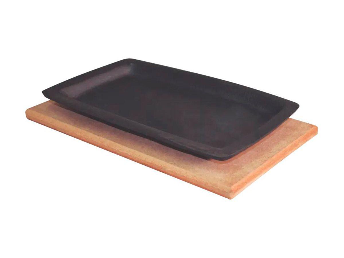 Chapa Tepan 18x28 Cm De Ferro Fundido Com Aparador  - Panela de Ferro Fundido