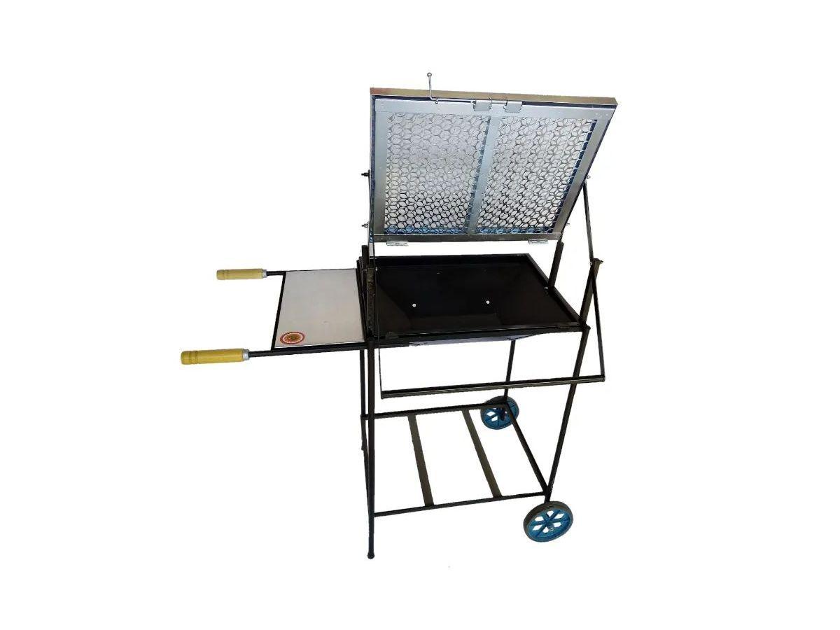 Churrasqueira Carrinho Kit Grelha Inox Elevatória 96x50x40cm  - Panela de Ferro Fundido