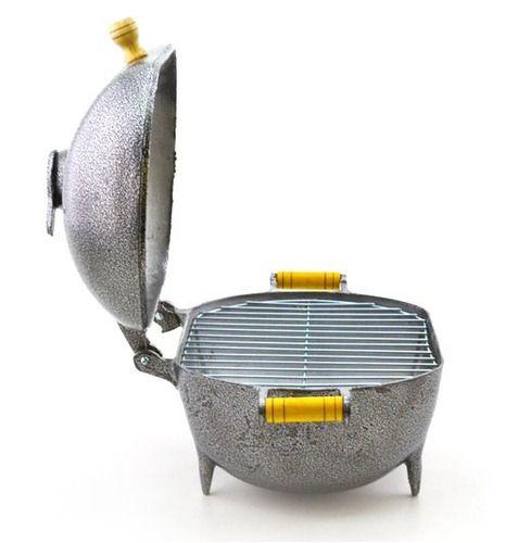 Churrasqueira Média A Bafo Alumínio Fundido Craqueada Prata  - Panela de Ferro Fundido
