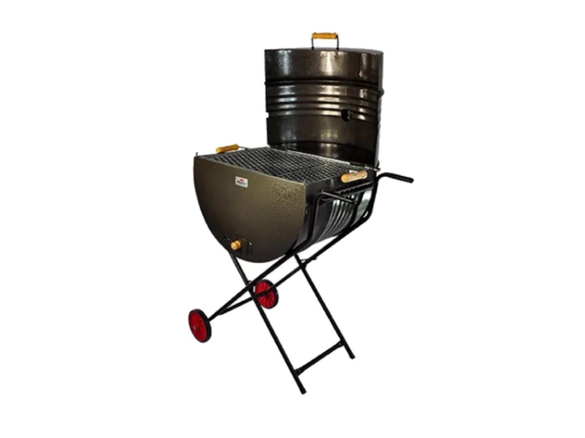 Churrasqueira Meio Tambor Grill 200l Grelha,suporte E Rodas  - Panela de Ferro Fundido