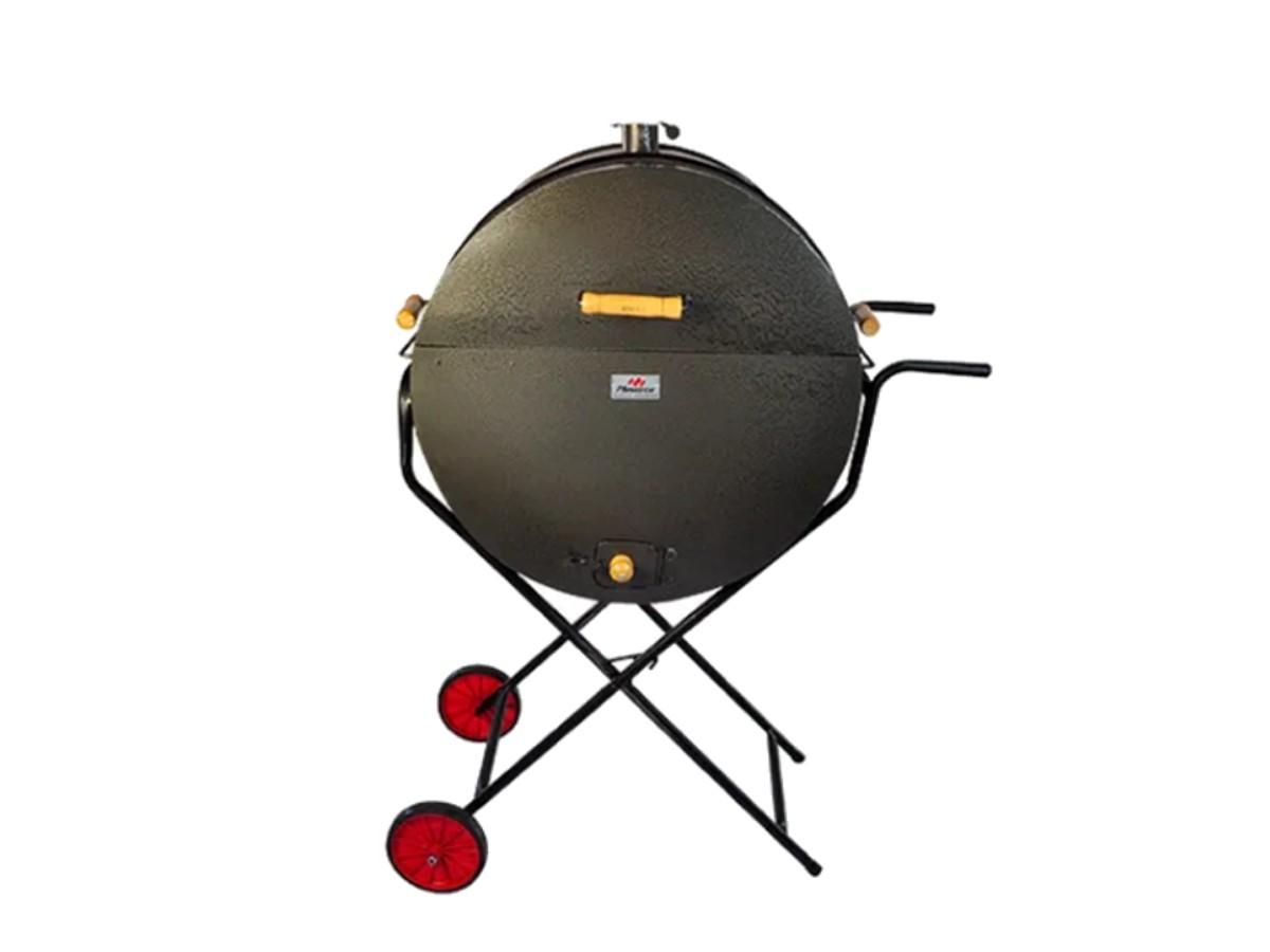 Churrasqueira Meio Tambor Grill 200l Grelha,suporte E Rodas