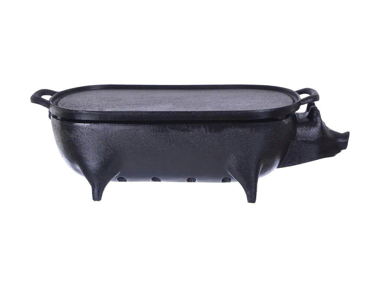 Churrasqueira Porquinho Em Ferro Completa Santana 38x23x12cm