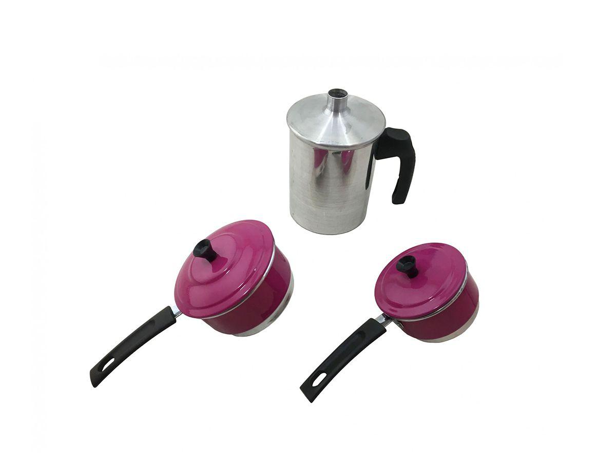 Cuscuzeiro Individual para Duas Pessoas Liso Rosa  - Panela de Ferro Fundido