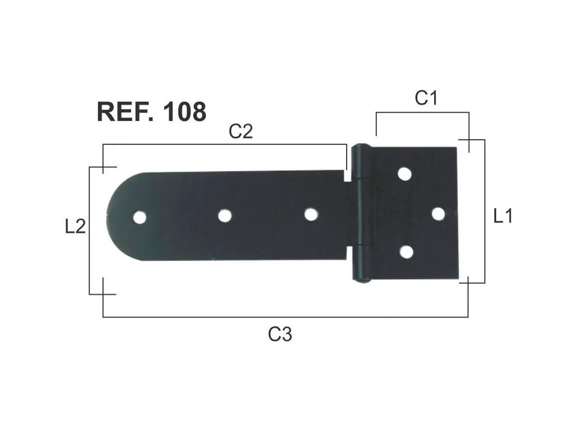 Dobradiça de Aço Pintada de Porta e Portão Reforçadas N 108  - Panela de Ferro Fundido