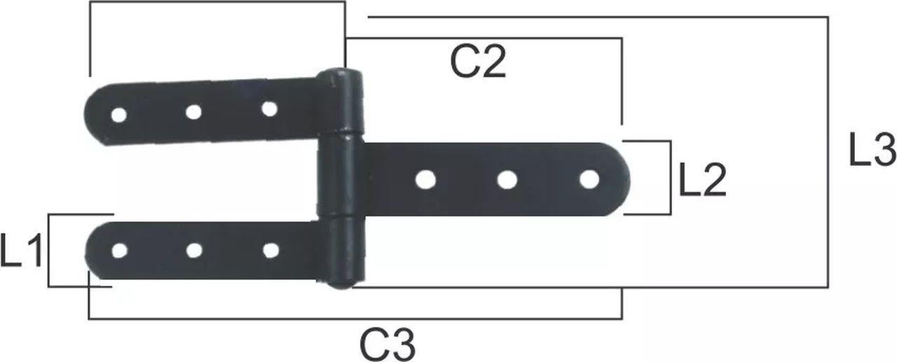 Dobradiça de Porteira de Aço Pintada Dupla N 07 L  - Panela de Ferro Fundido