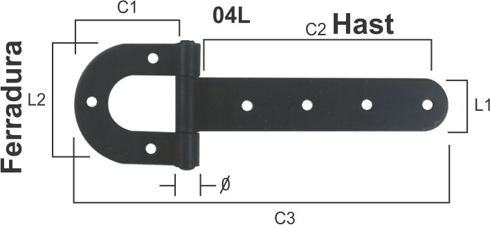 Dobradiça de Porteira Tipo Ferradura Pintada N 03L  - Panela de Ferro Fundido