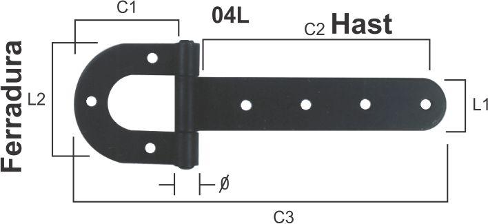 Dobradiça de Porteira Tipo Ferradura Pintada N 04  - Panela de Ferro Fundido