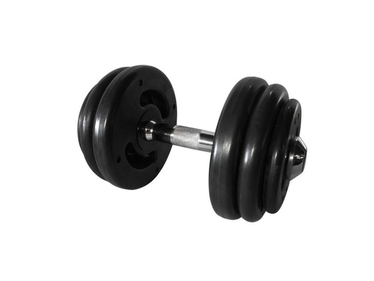Dumbbell Injetado com Pegada Cromada Academia Fitness 22kg  - Panela de Ferro Fundido