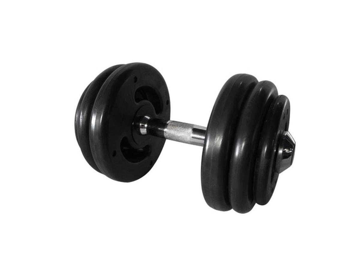 Dumbbell Injetado com Pegada Cromada Academia Fitness 28kg  - Panela de Ferro Fundido