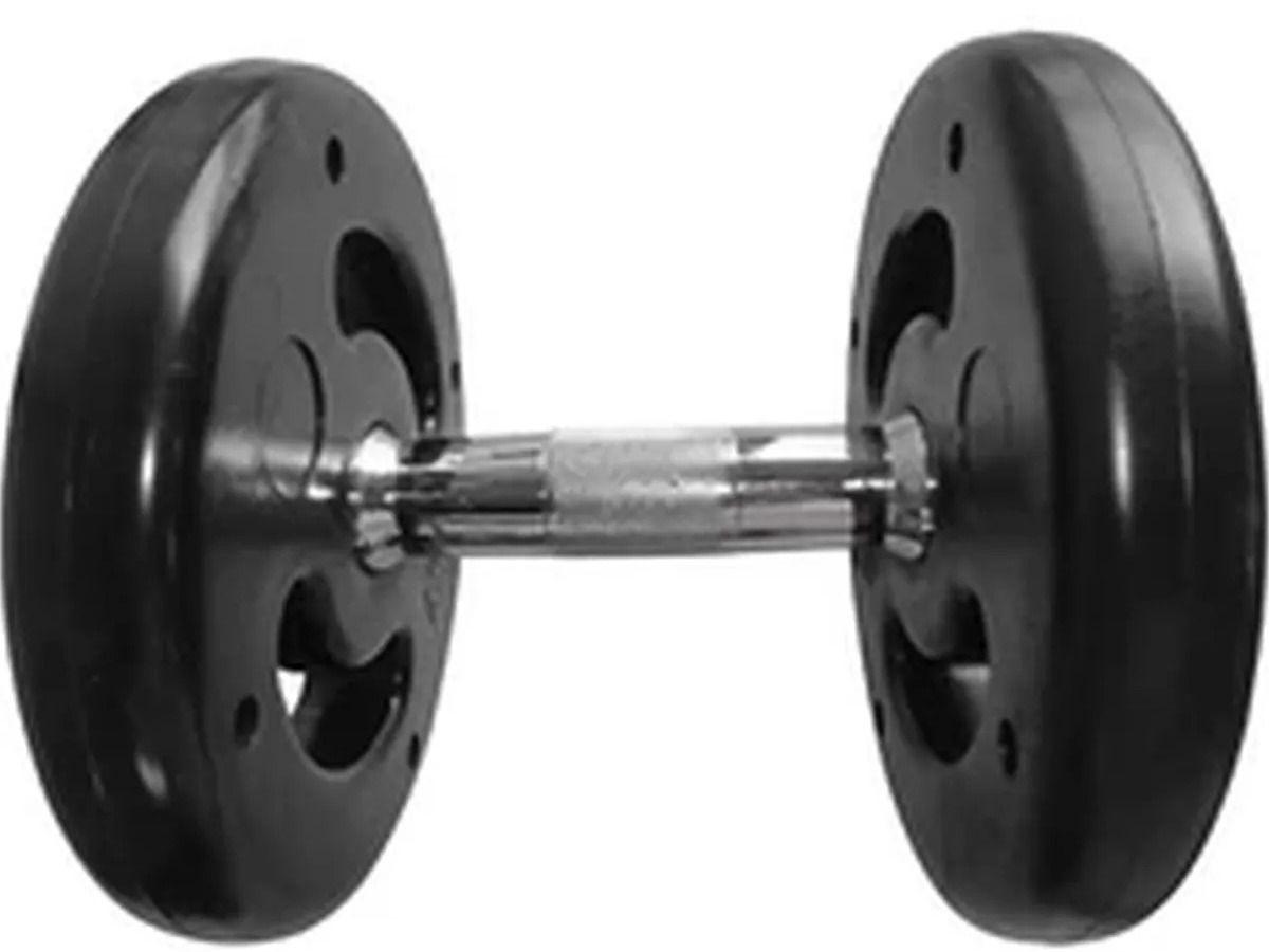 Dumbbell Injetado com Pegada Cromada Academia Fitness 8kg  - Panela de Ferro Fundido