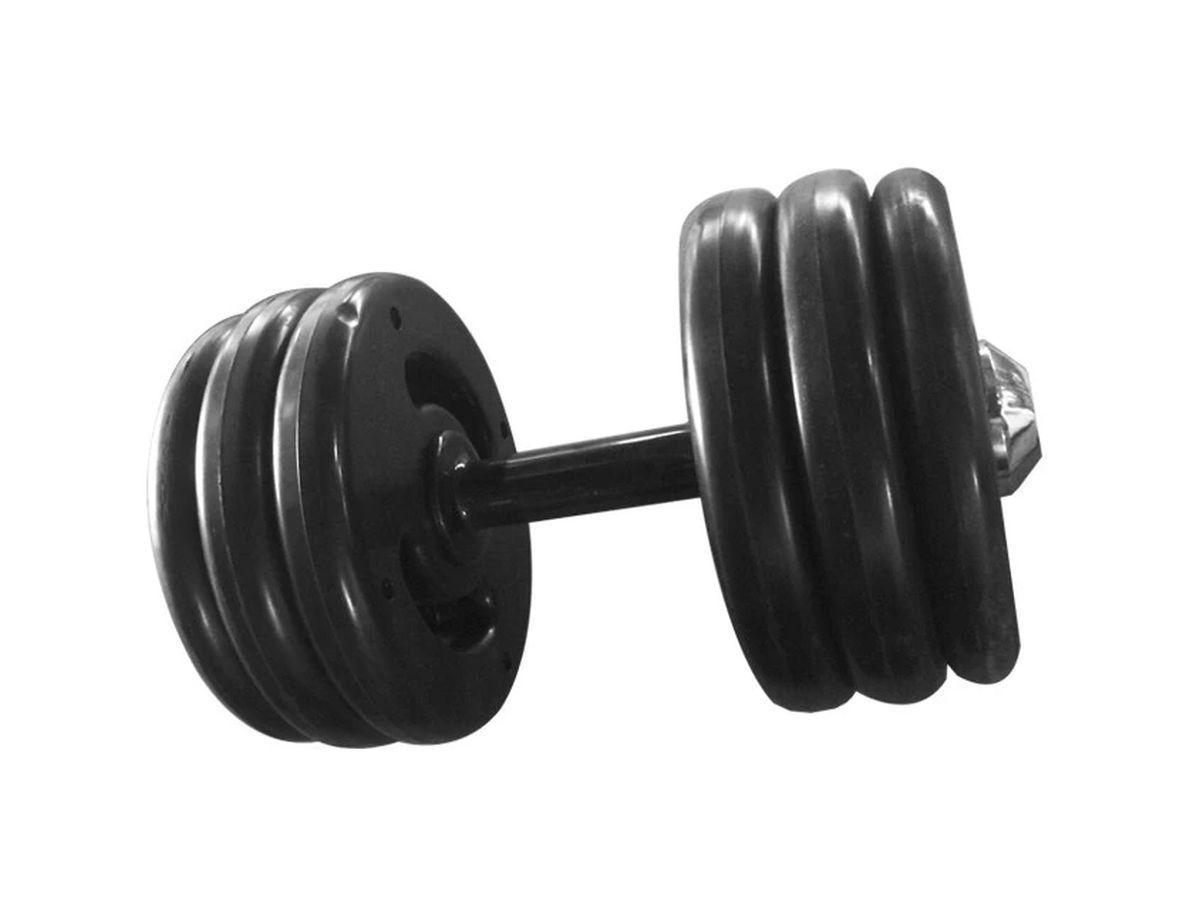 Dumbbell Injetado Pegada Emborrachada Academia Fitness 30kg  - Panela de Ferro Fundido