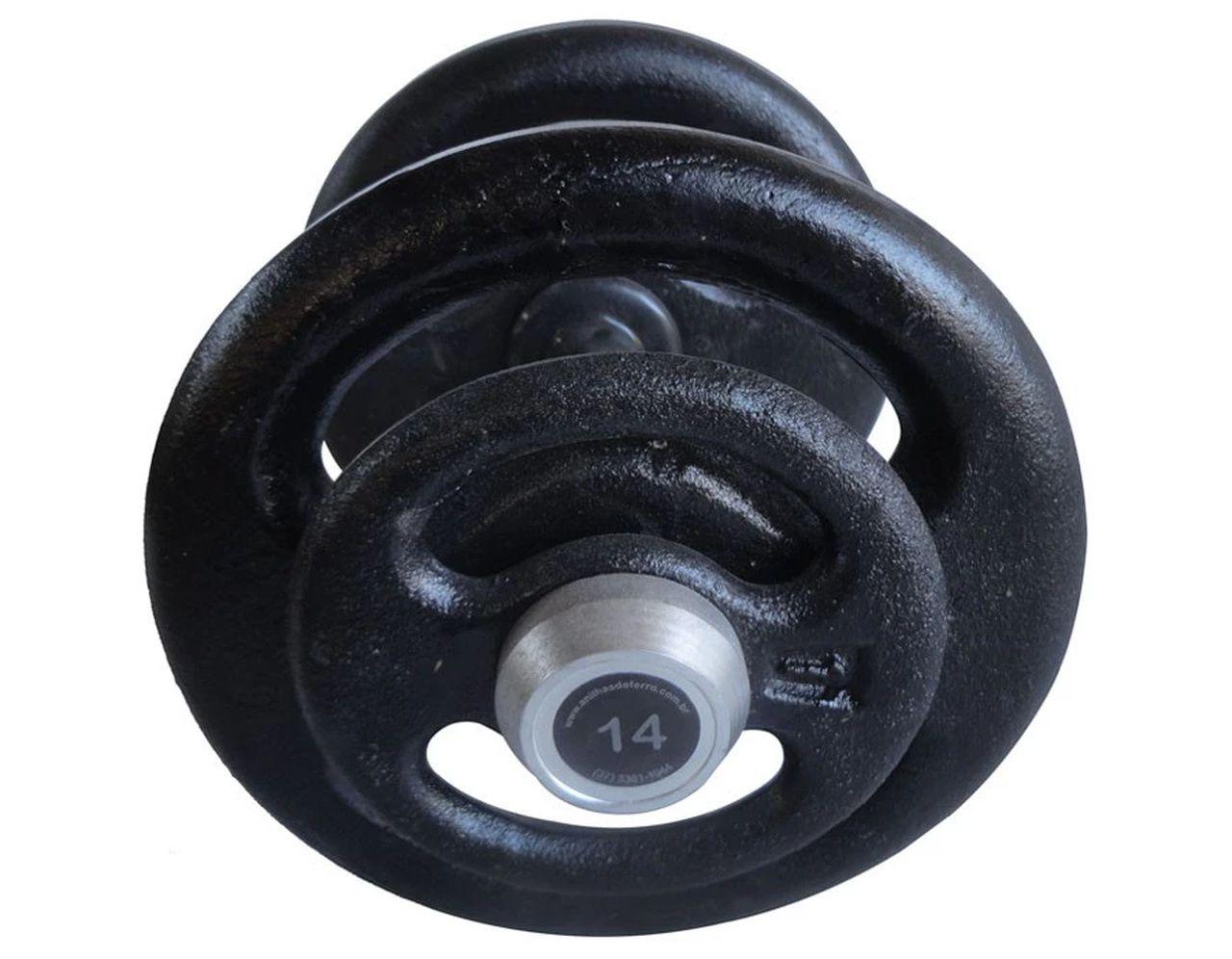 Dumbbell Pintado Pegada Emborrachada Academia Fitness 14kg  - Panela de Ferro Fundido