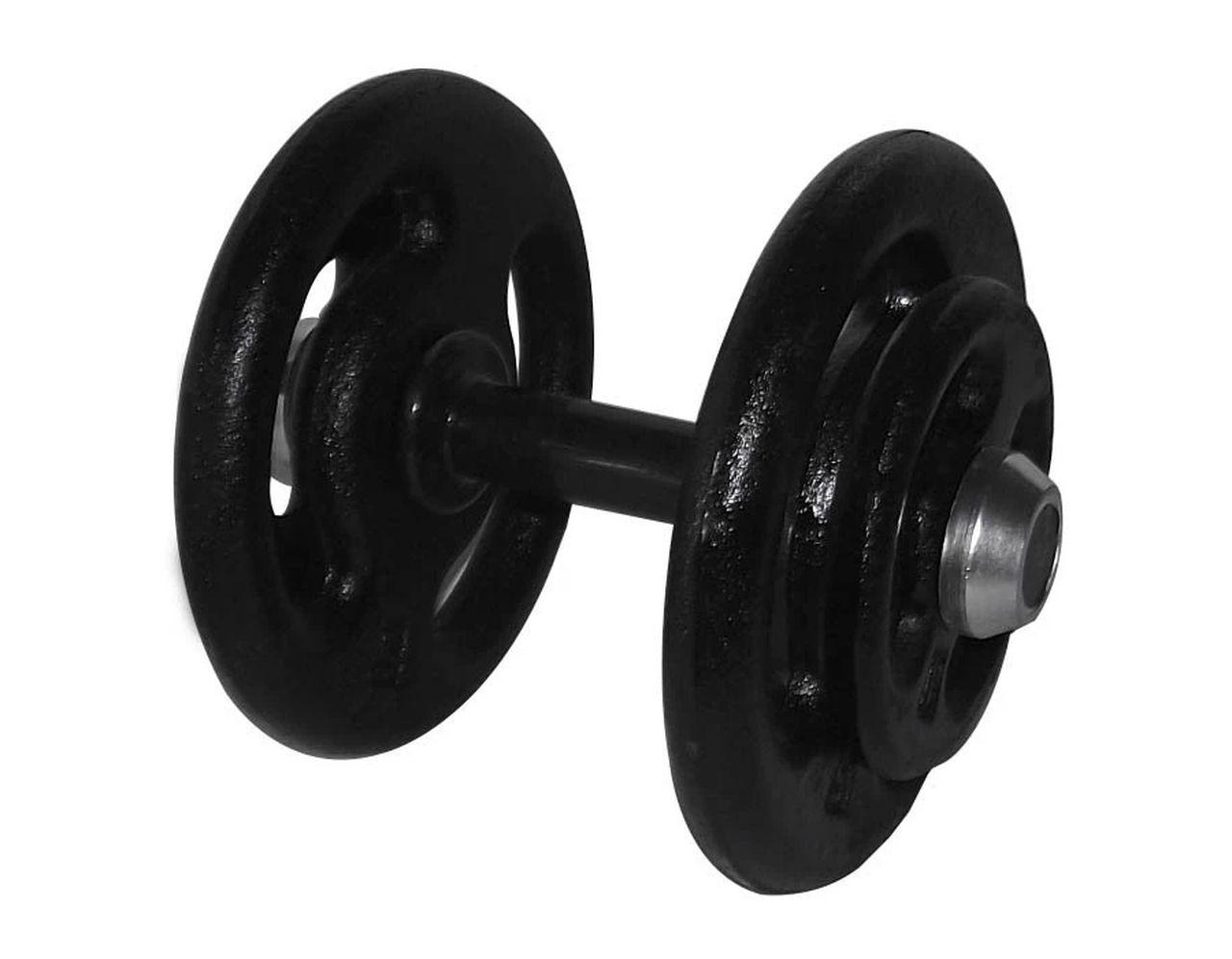 Dumbbell Pintado Pegada Emborrachada Academia Fitness 28kg  - Panela de Ferro Fundido