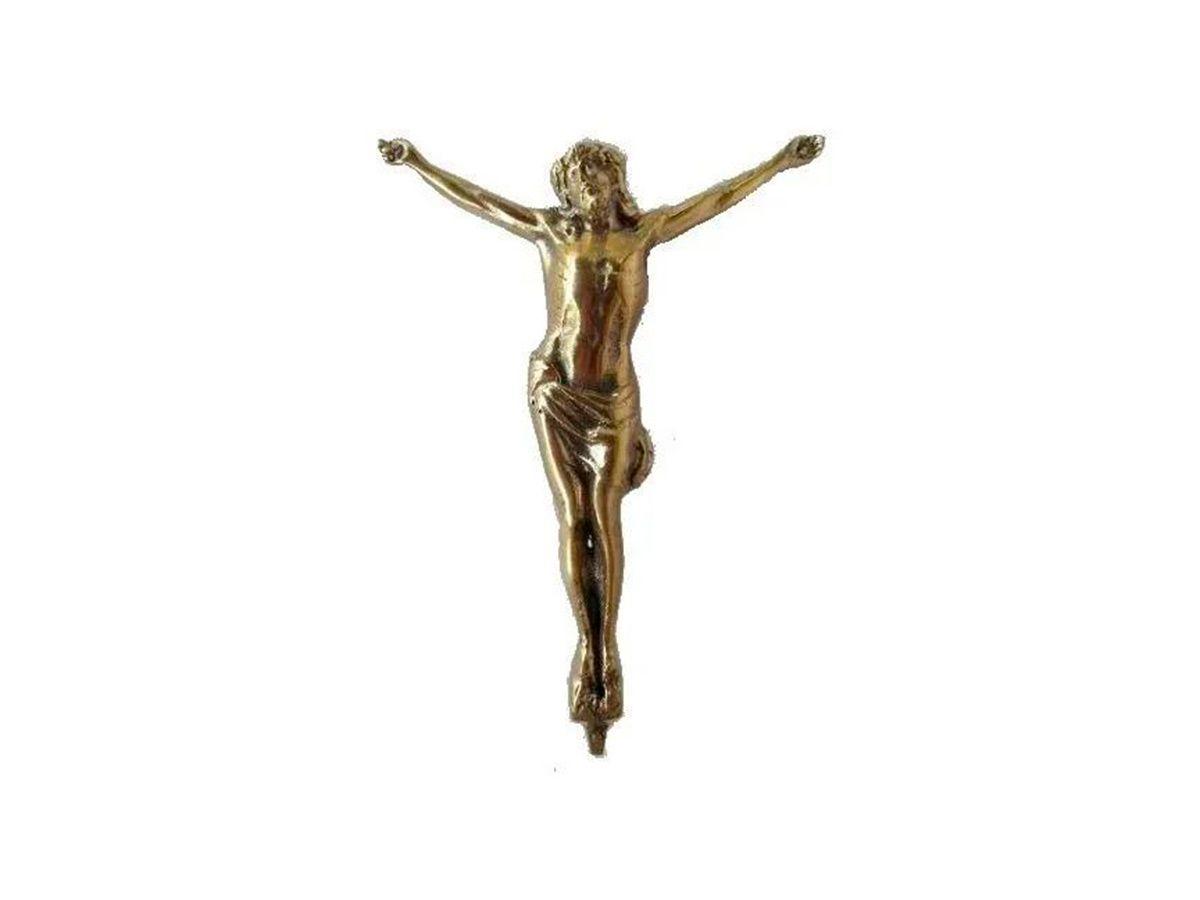 Estátua Cristo (jesus) Alumínio Fundido Pintura Ouro Velho  - Panela de Ferro Fundido