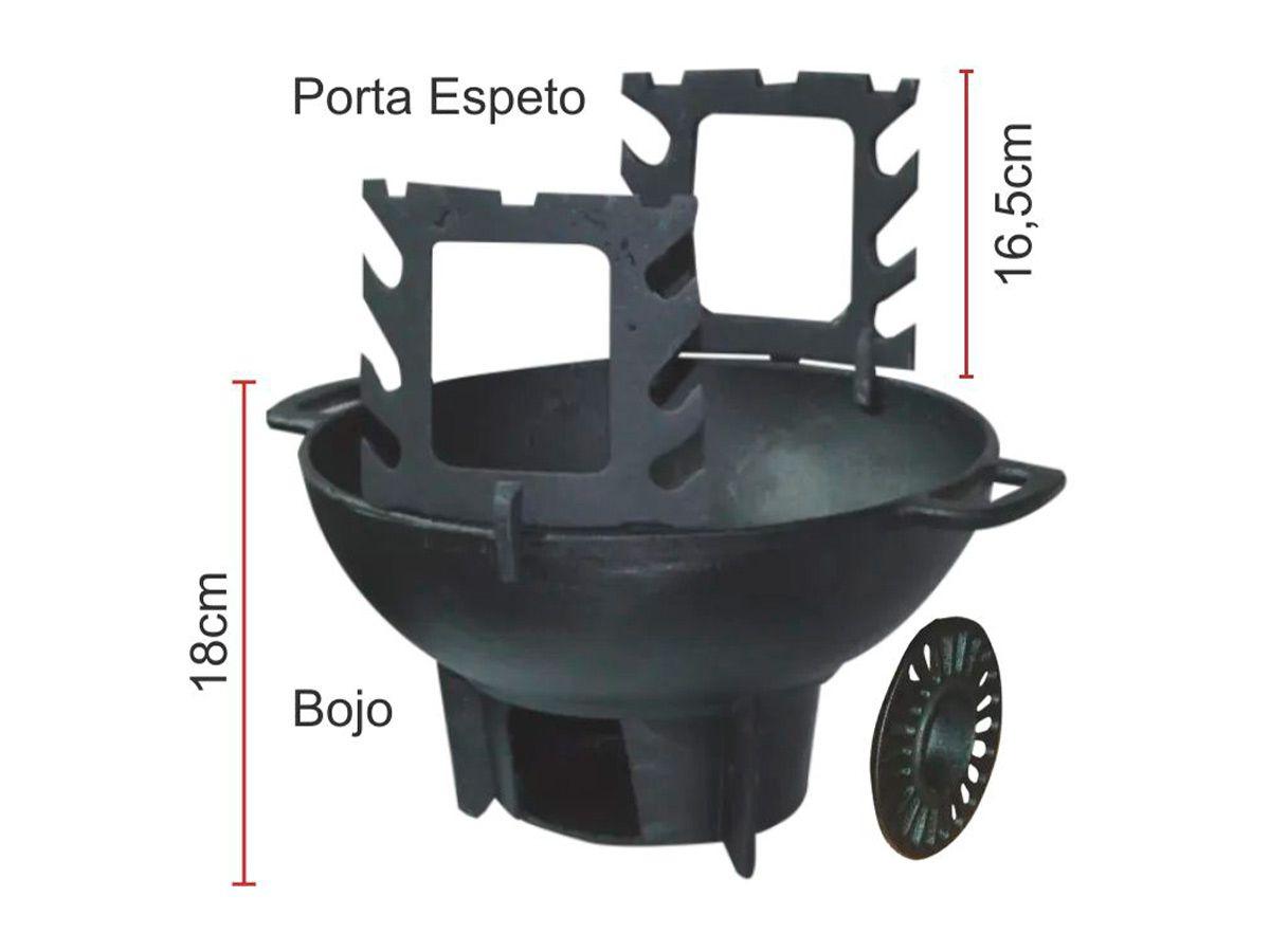 Fogareiro/churrasqueira Gengiskan Completo - Diametro 31cm  - Panela de Ferro Fundido