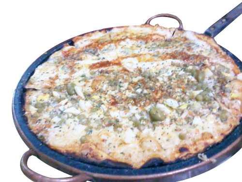 Forma de  Pizza em Pedra Sabão com Alça de Cobre 36,0 Cm