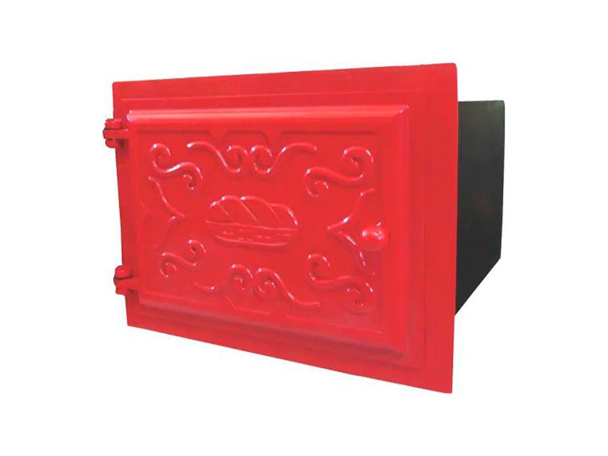 Forno Ferro Fundido Porta De Ferro Vermelho 48x35x30cm P  - Panela de Ferro Fundido