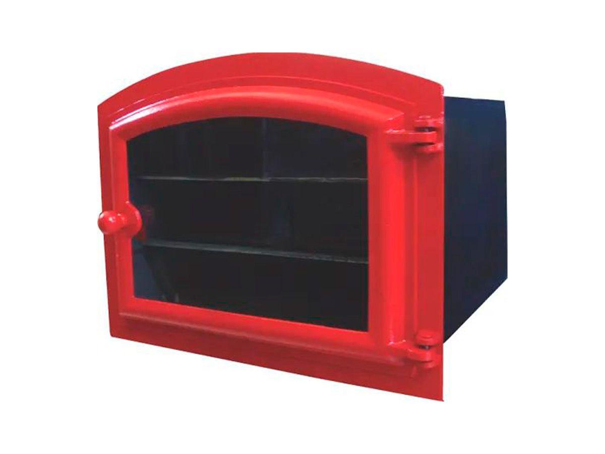 Forno Ferro Fundido Porta De Vidro Vermelho 50x47x33cm G