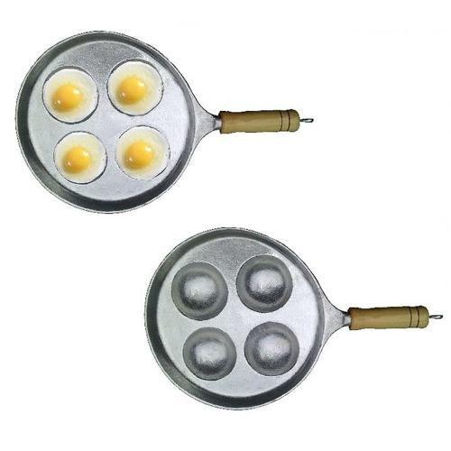 Frigideira de Ovo em Aluminio Batido Frita 4 Ovos de Uma Vez  - Panela de Ferro Fundido