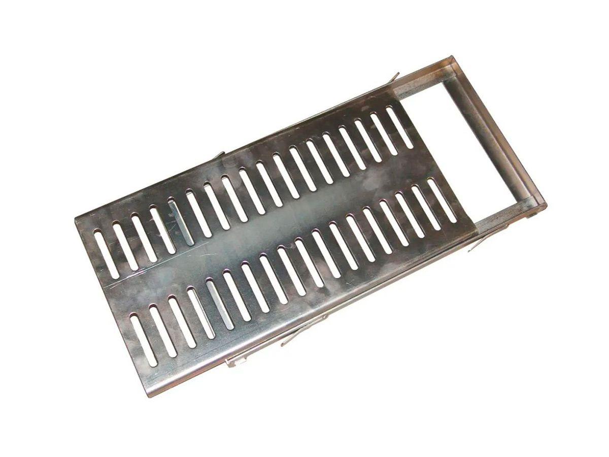 Ralo Grelha e Castilho de Aço Galvanizado Chapa 2mm 20x50cm  - Panela de Ferro Fundido