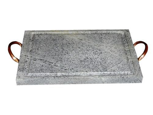 Grelha Retangular Pedra Sabão com Alça de Cobre 20x30 Cm