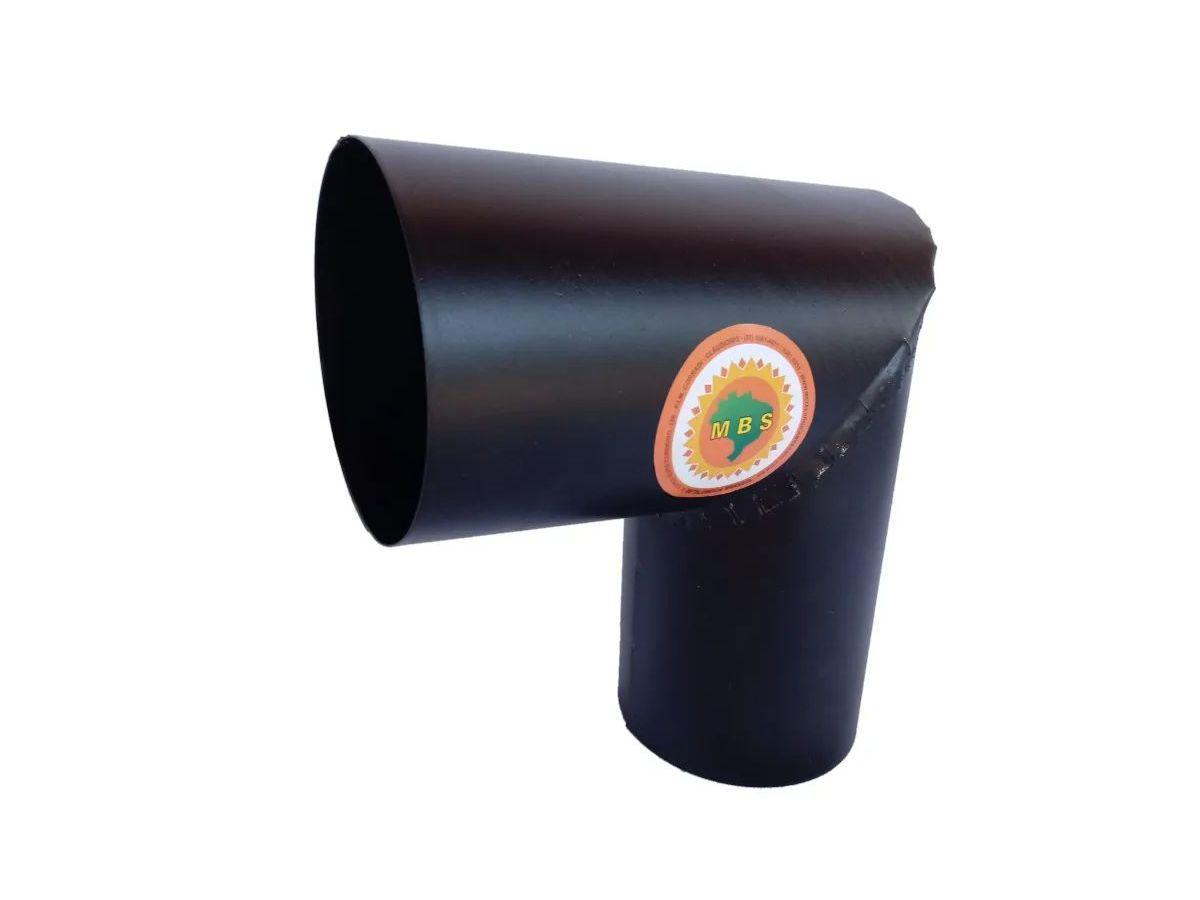 Joelho Para Tubo De Chaminé Preto Diâmetro 10cm  - Panela de Ferro Fundido