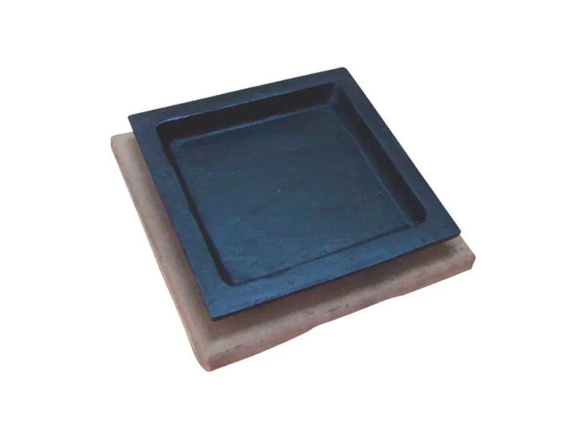 Jogo 10 Tepan 16x16cm Ferro Fundido E 10 Aparador Em Madeira  - Panela de Ferro Fundido