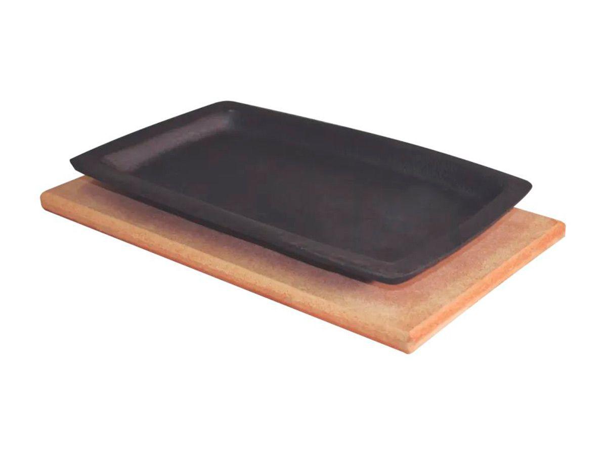 Jogo 10 Tepan 18x28cm Ferro Fundido E 10 Aparador Madeira  - Panela de Ferro Fundido