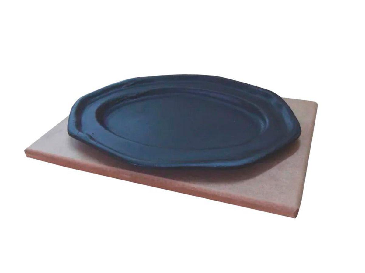 Jogo 5 Tepan 26x16cm Ferro Fundido E 5 Aparador Em Madeira  - Panela de Ferro Fundido