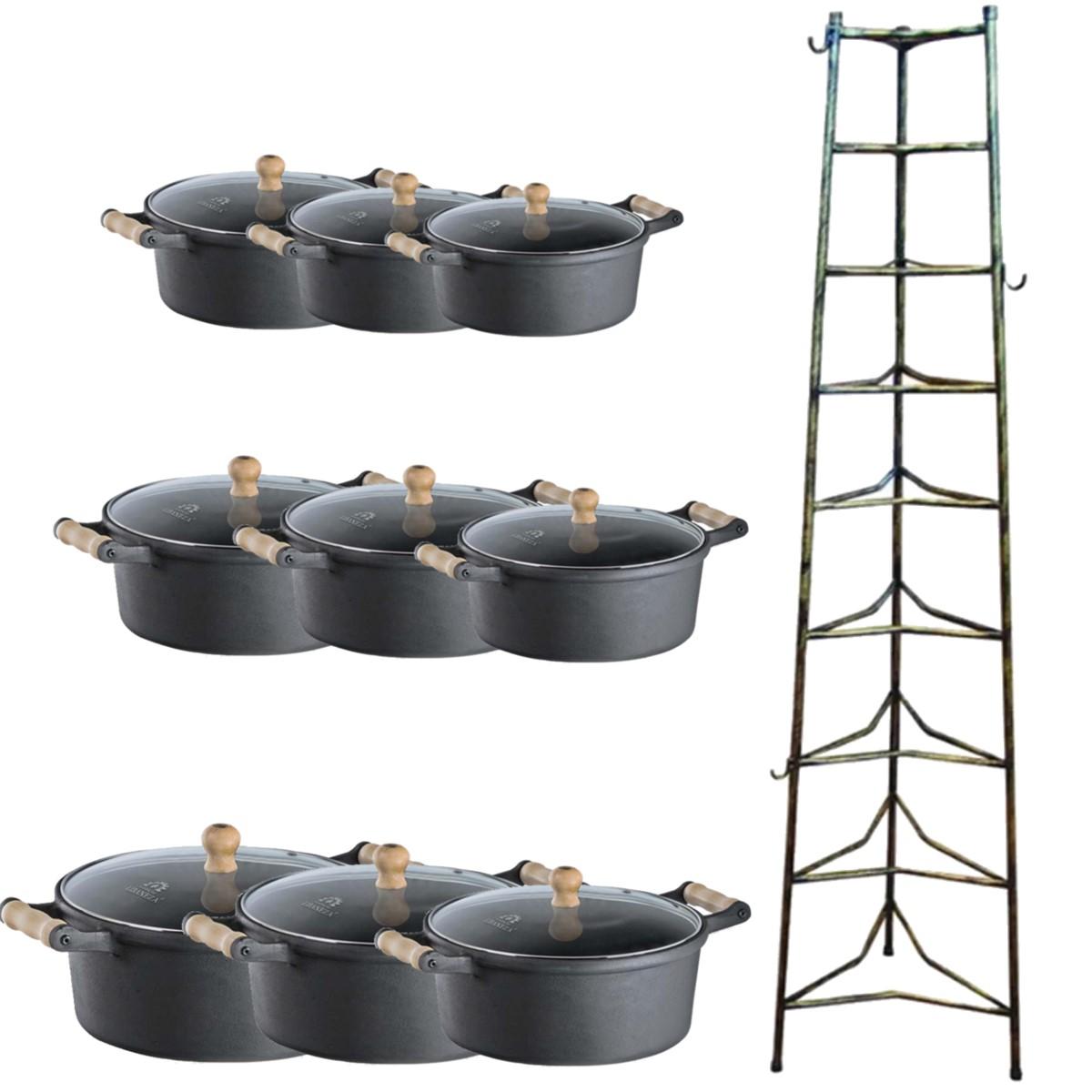 Jogo Caçarolas tampa de vidro alças de madeira mais paneleiro 16 ao 32cm  - Panela de Ferro Fundido
