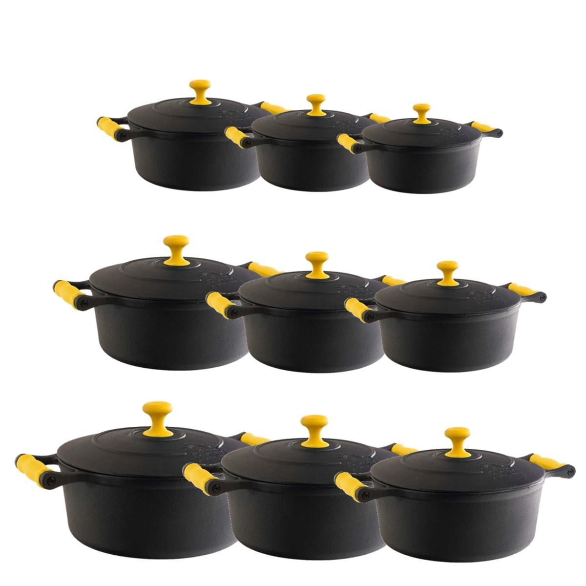 Jogo Caçarola com Alça de silicone Amarelo 16 ao 32cm  - Panela de Ferro Fundido
