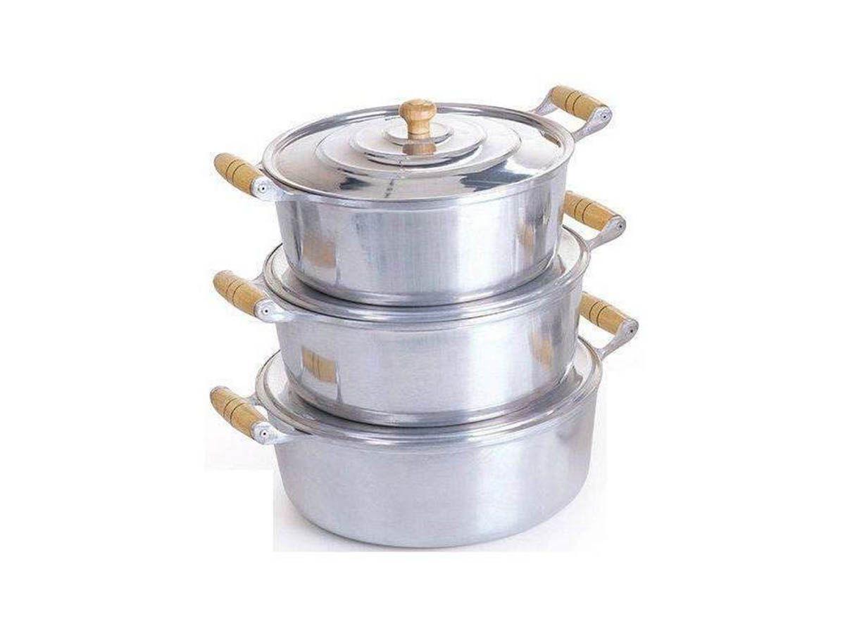 Jogo Caçarola Reta Alumínio Polido Alça de Madeira 26 ao 30  - Panela de Ferro Fundido