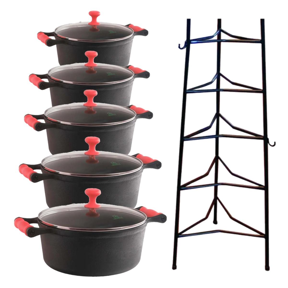 Jogo Caçarola silicone Vermelho tampa vidro 16 ao 24cm mais paneleiro  - Panela de Ferro Fundido