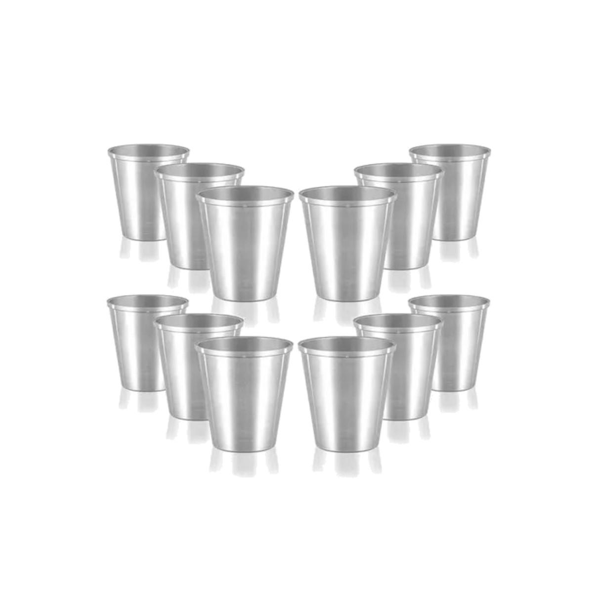 Kit 12 Copos De Alumínio Polido Creches e Escolas 300ml  - Panela de Ferro Fundido
