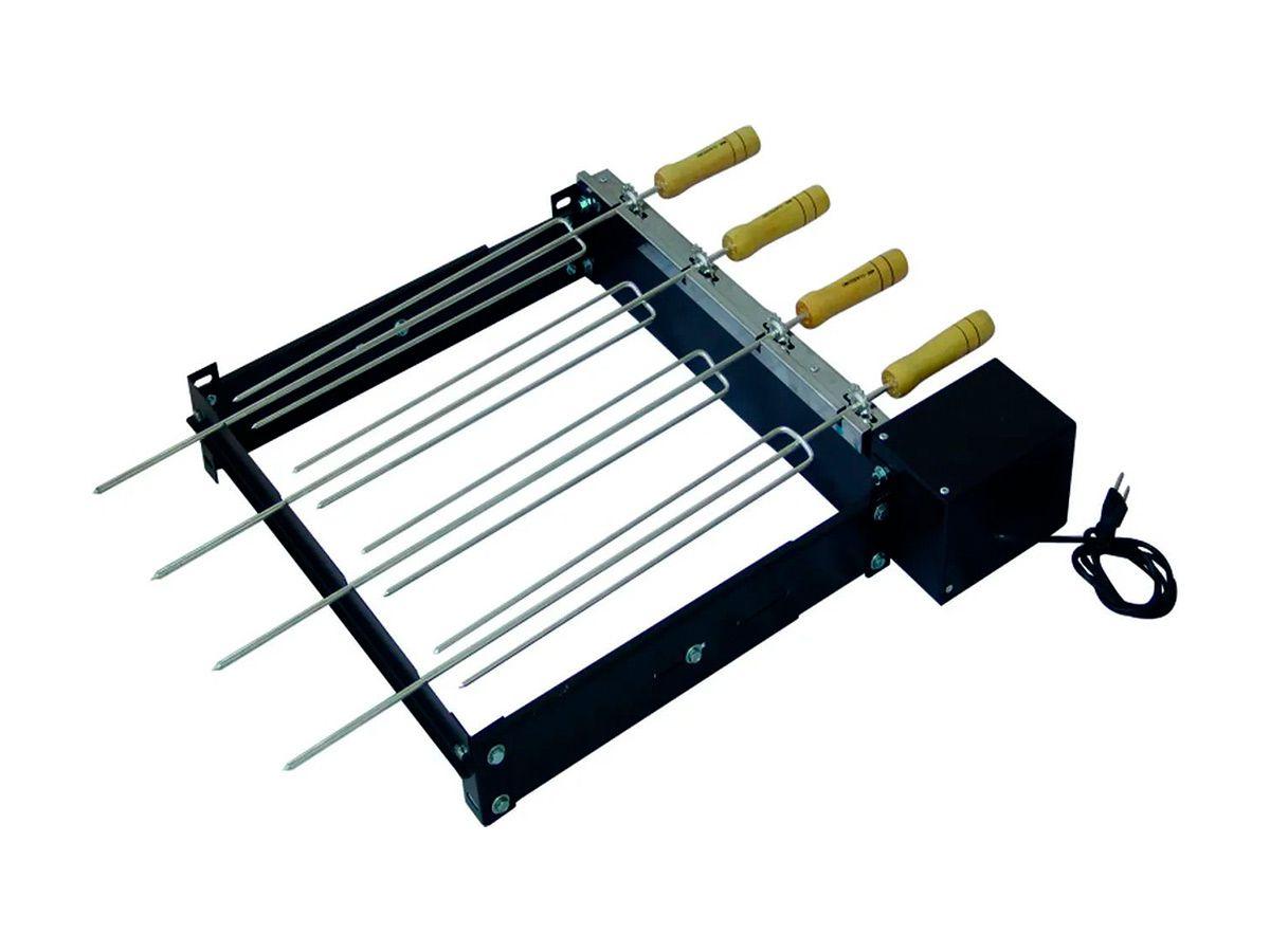 Kit Giratório Baixo Para Churrasqueira Com 04 Espetos Bivolt  - Panela de Ferro Fundido