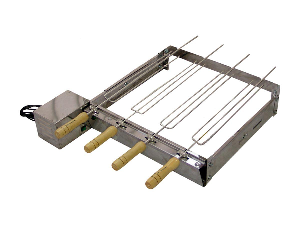Kit Giratório Baixo Para Churrasqueira Em Inox 04 Espetos  - Panela de Ferro Fundido
