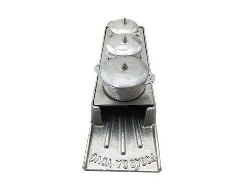 Kit Miniatura Fogão A Lenha Alumínio Batido Porções  - Panela de Ferro Fundido